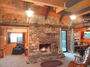 cabins for sale stone fireplace