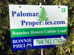 www.palomarproperties.com Bonnie Phelps Palomar Mountain Real Estate