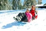 Girls sledding Palomar Christian Conference Center